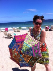 Rebecca twirling her parasol